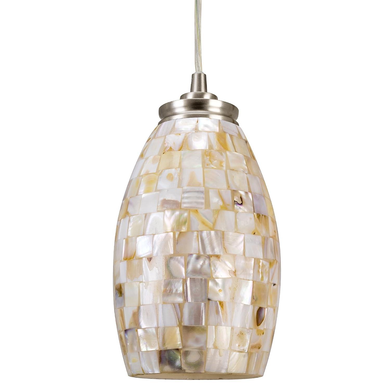 "Kira Home Coast 9"" Contemporary Mini Pendant Light + Hand-Crafted Mosaic Shell Glass, Satin Nickel Finish"