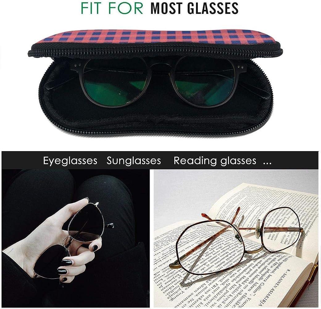 HHJJI Estuche de gafas a cuadros azul rojo con clip para cinturón, cremallera de neopreno ultraligero Estuches para gafas portátiles Gafas de sol Estuche suave para niñas Mujeres Niños Hombres: Amazon.es: Ropa