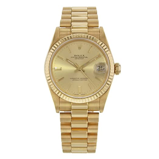 Rolex Datejust Presidente 30 68278 18 K amarillo oro automático Midsize reloj B/P (Certificado) de segunda mano: Rolex: Amazon.es: Relojes