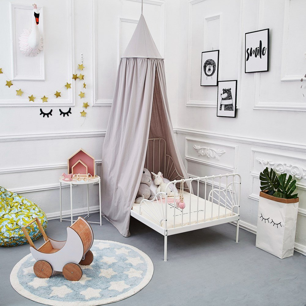 ONMIER Mosquito Net Canopy, Cotton Canvas Dome Princess Bed Canopy Kids Play Tent Mosquito Net Children's Room Decorate for Baby Kids Indoor Outdoor Playing Reading (Grey) by ONMIER