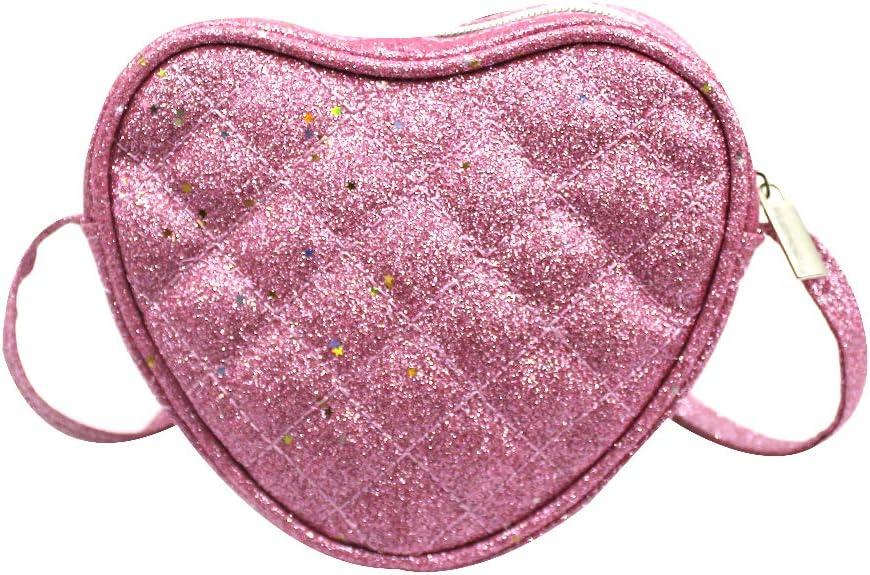 ZGMYC Cute Heart-shaped Crossbody Purse Star Sequins Mini Shoulder Bag Handbags for Little Girls