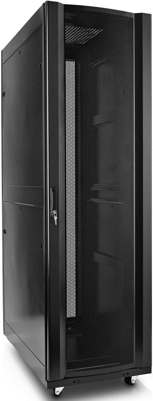 V7 RMEC42U-1N 42U Rack Mount Cabinet Enclosure (Fully assembled, vented door, adjustable mounting rails, cold rolled steel, 5 year warranty),Black