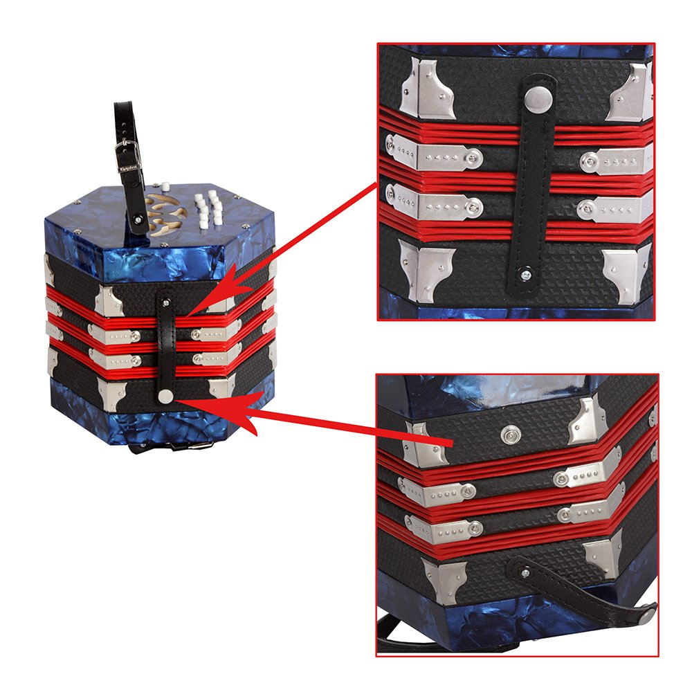 Walmeck Concertina Accordion 20-Button 40-Reed Anglo Style with Carrying Bag by Walmeck (Image #3)