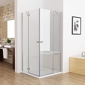 Mampara de ducha para esquina de 75 – 100 x 75 – 100 cm, vidrio templado, Plateado: Amazon.es: Bricolaje y herramientas