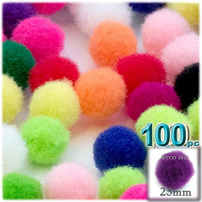 crafts Acrylic Multipurpose 25mm/1.0-inch Pom Poms (Multicolour) Party Supplies at amazon