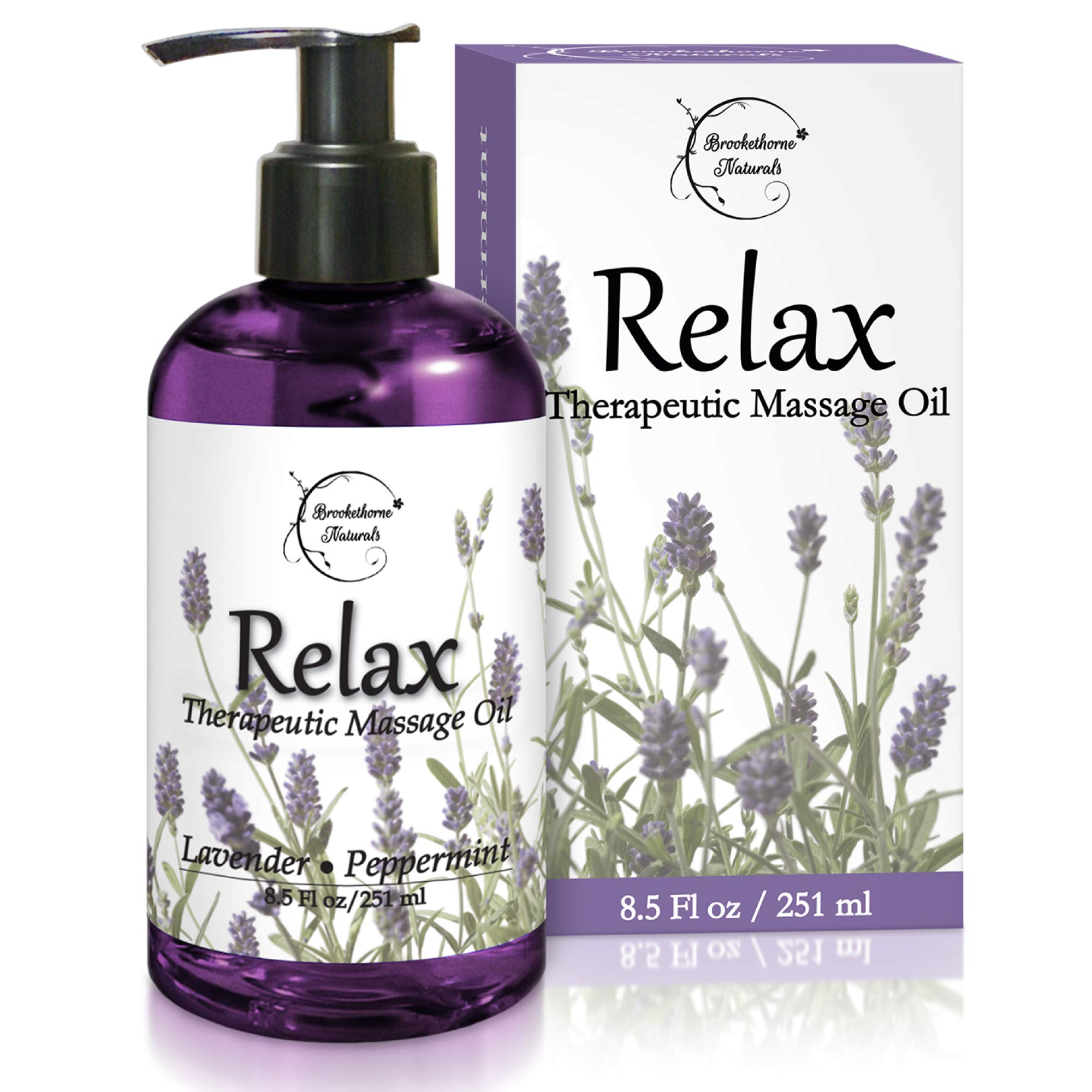 Relax Therapeutic Body Massage Oil - with Best Essential Oils for Sore Muscles & Stiffness - Lavender, Peppermint & Marjoram - All Natural - with Sweet Almond, Grapeseed & Jojoba Oil 8.5oz by Brookethorne Naturals