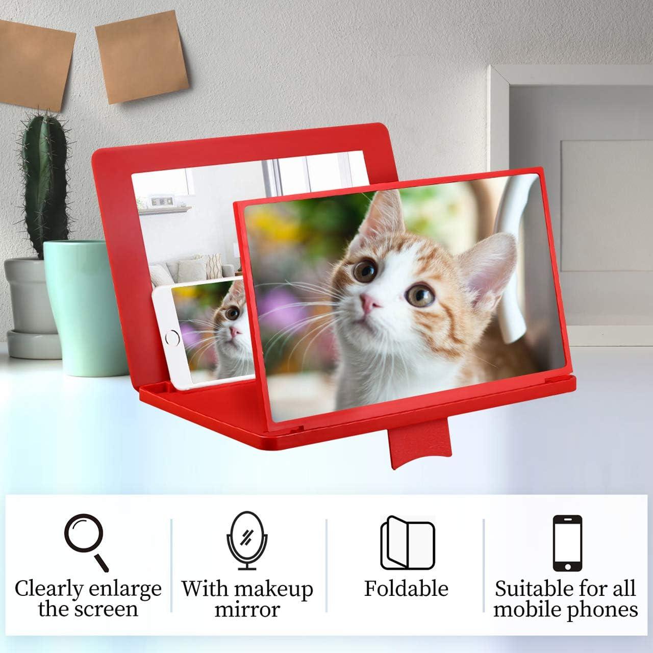 Negro KwuLee 12 HD Lupa de Pantalla del Tel/éfono Soporte Plegable para Tel/éfonos M/óviles con Amplificador de Pantallas 6D para Smartphone Proyector de Pantalla de Video de Pel/ícula Ampliada