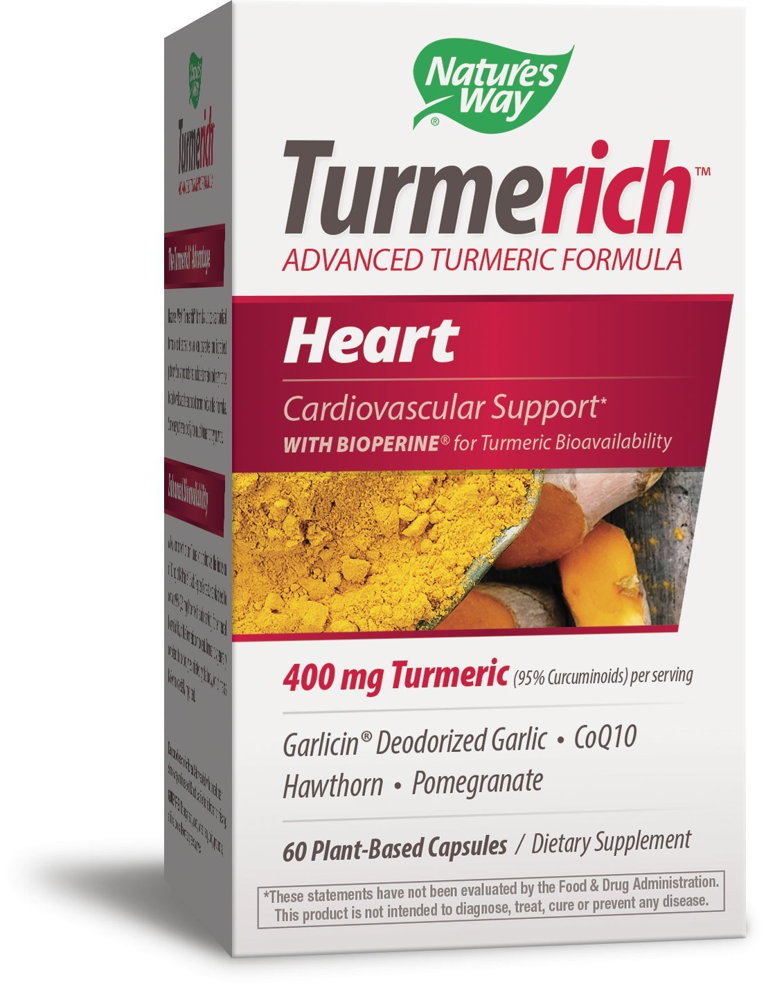 Nature's Way Turmerich Advanced Turmeric Formula for Cardiovascular Support*; 400 mg Turmeric per Serving; Garlic, CoQ10, Hawthorn, Pomegranate, Black Pepper Extract; Vegetarian Capsules; 60 Count