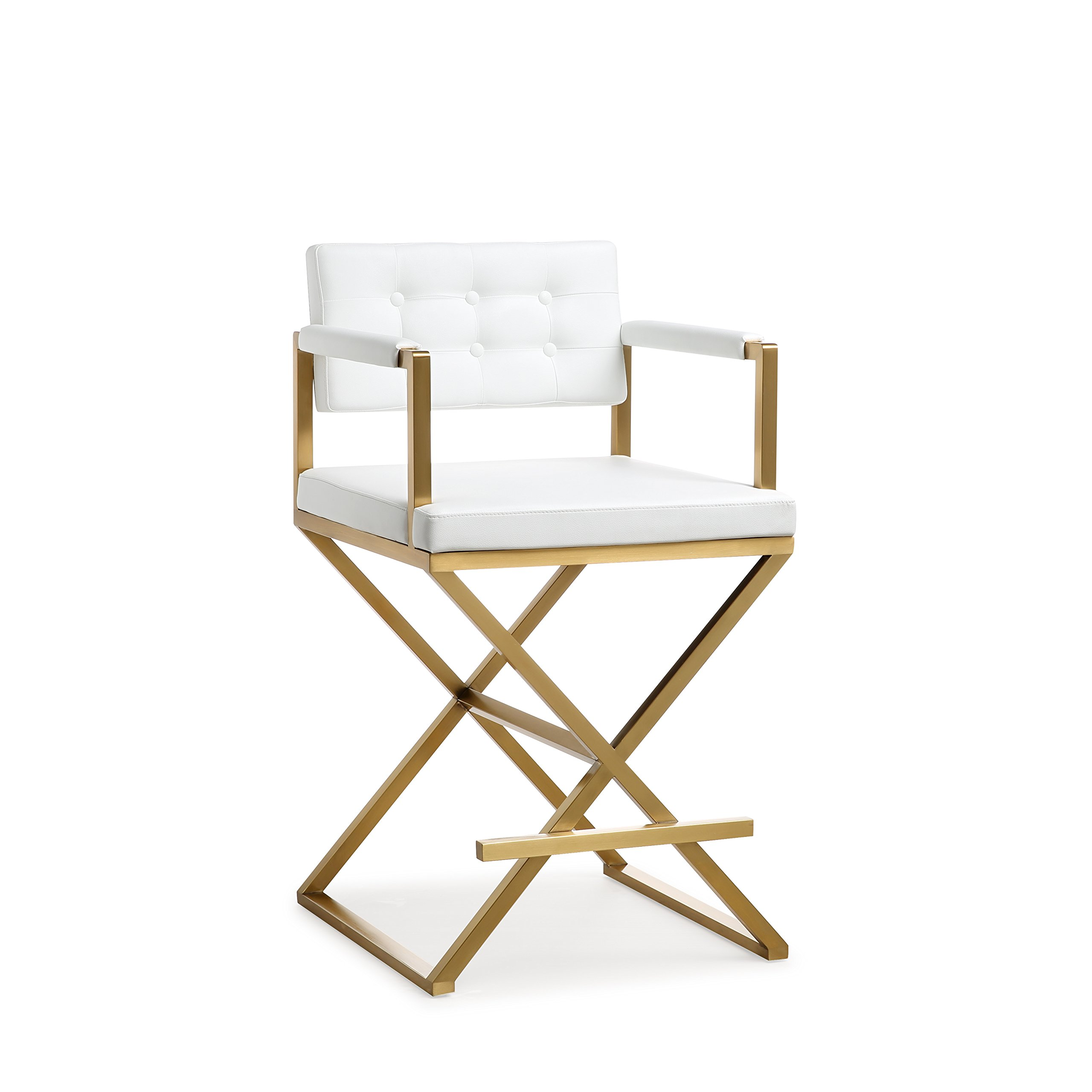 TOV Furniture TOV-K3668 Director Steel Counter Stool, Standard, White by Tov Furniture