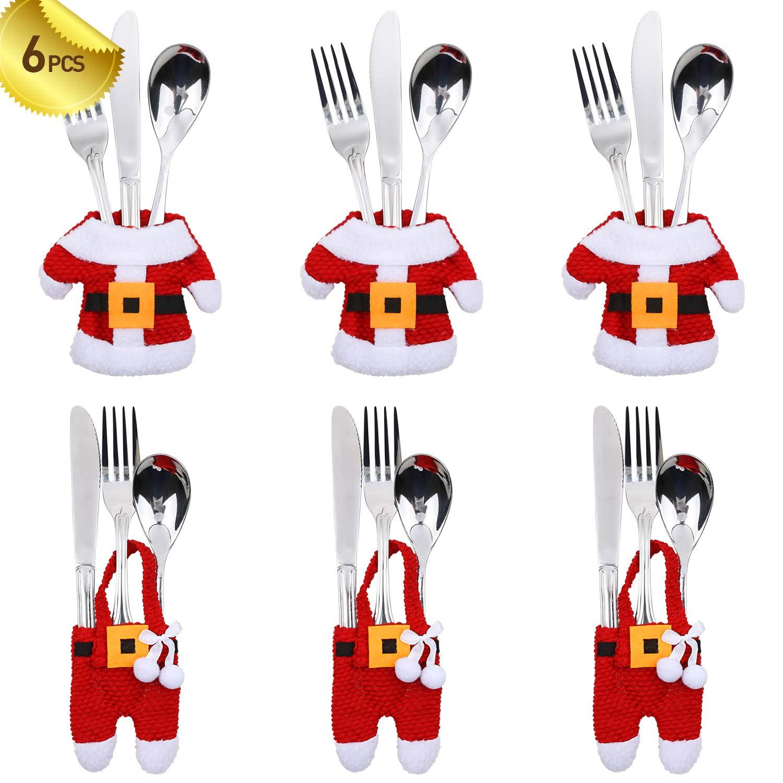 PintreeLand 6PCS Christmas Silverware Holders Xmas Cutlery Holder Ornaments Party Decorations, Christmas Utensil Holder Santa Suit Dinner Table Decor Knife Fork Pocket Bags Hostess Gifts