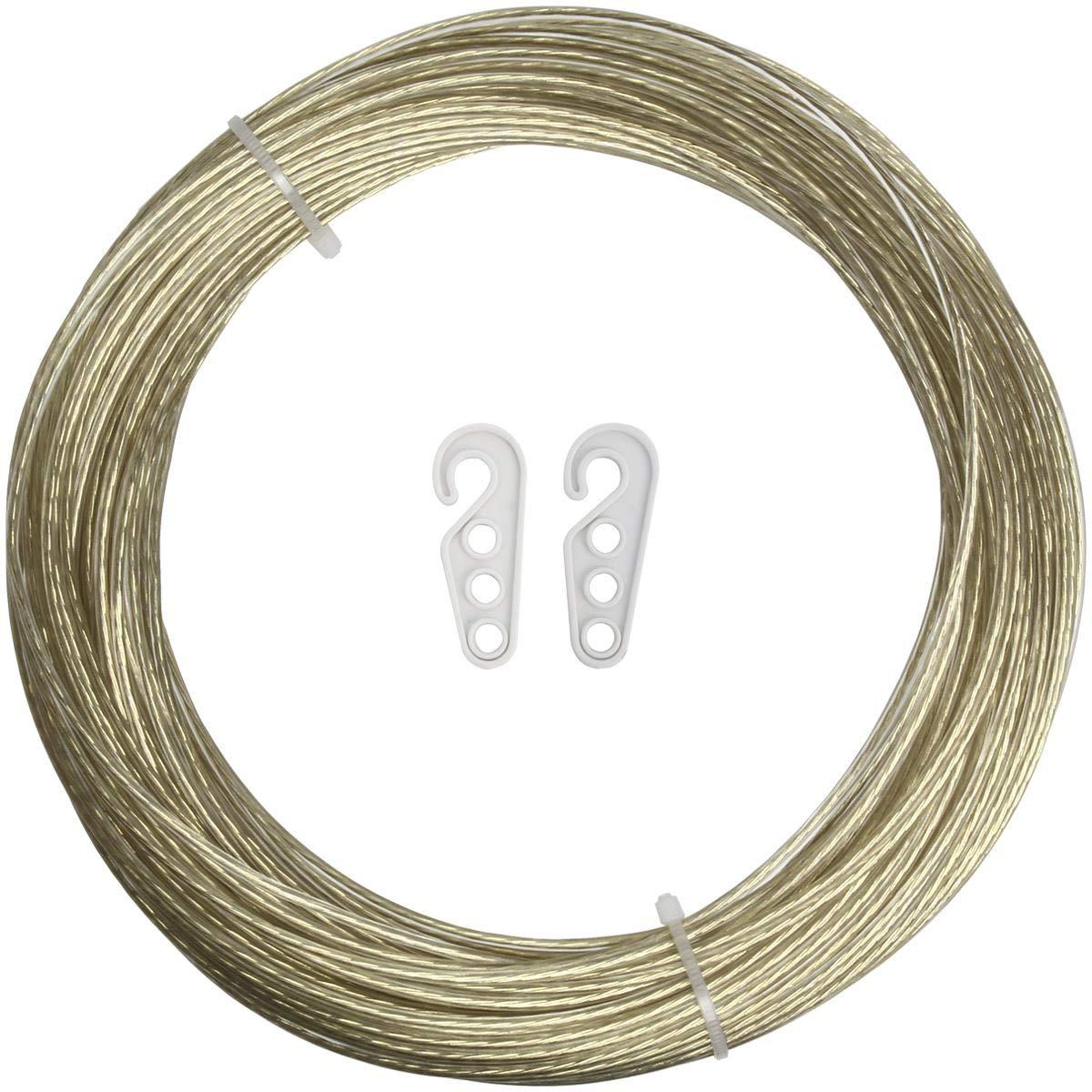 iGadgitz Home スチールコア 洗濯ロープ プラスチック PVCコーティング 衣類ロープ 洗濯ロープ 洗濯ロープ 屋外 庭 壁用 Length 98ft ゴールド U6940 B07N669MVT ゴールド Length 98ft