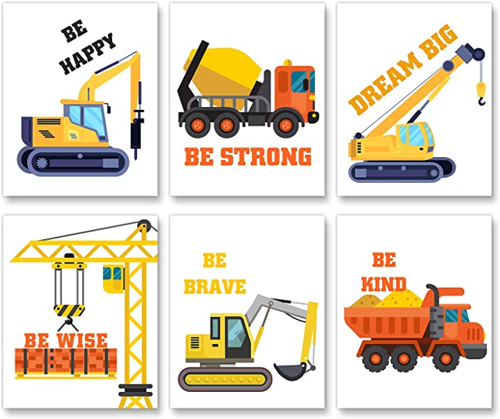 Baby Nursery Wall Decor - Construction Bulldozer Truck Art Print- Construction Inspirational Quote Wall Art-Perfect for Nursery Bedroom Decoration - Set of 6 Posters (Unframed,8