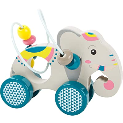 Small Foot Wooden Toys Push-Along Elephant with an Activity Loop & Beads Designed For Children 12+ Months: Toys & Games
