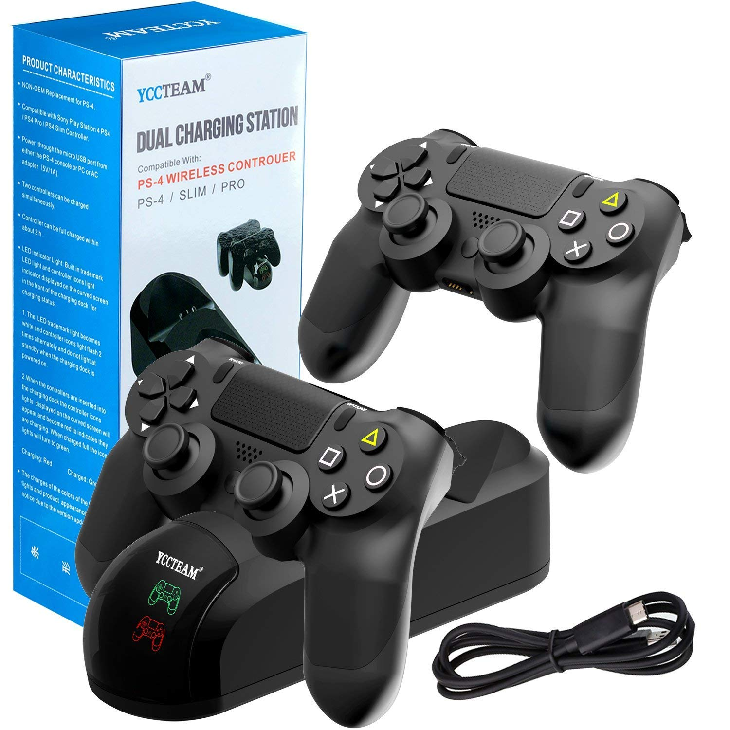PS4 Controller Charger Charging Station, Dual USB Charger Charging Station Stand for Sony PlayStation 4 PS4 and PS4 Pro Controller