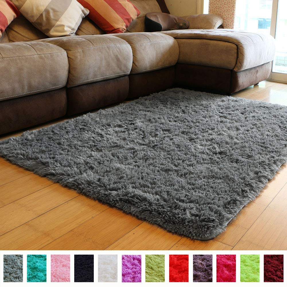 PAGISOFE Soft Fluffy Shaggy Area Shag Rugs for Bedroom Living Room Modern Cute Plush Fur Rug for Kids Dorm Girls Room Nursery Rug,(Purple and Grey), Solid Accent Rugs Carpet for Floor (4' x 5') PAGISOFE Rugs-0002-i