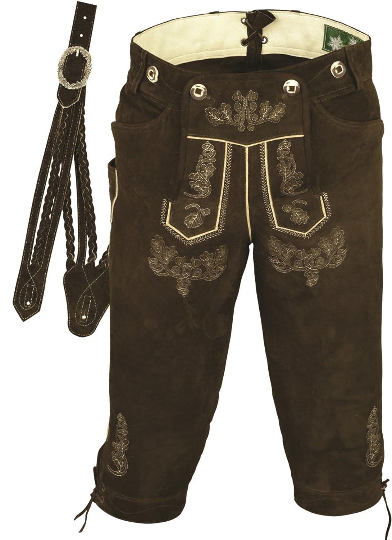 Trachtenlederhose Herren- Damen Kniebundlederhose -Trachten Lederhose mit Träger in Braun- Trachtenhose Knielang aus echt Leder Wildbock