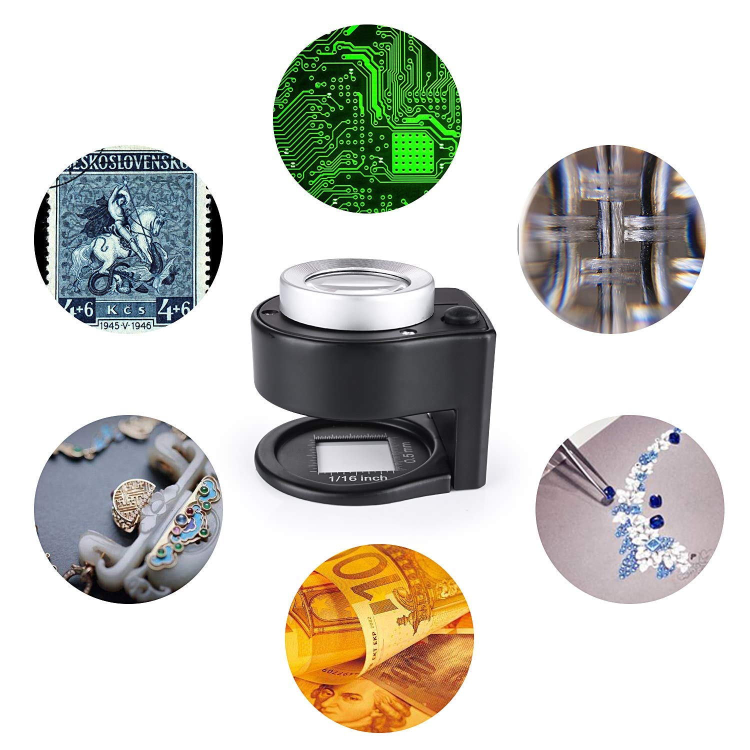 30X Loupe Magnifier with 6 LED and UV Light,Desktop Portable Metal Magnifier Folding Scale Sewing Magnifing Glass for Textile Optical Jewelry Tool Coins Currency