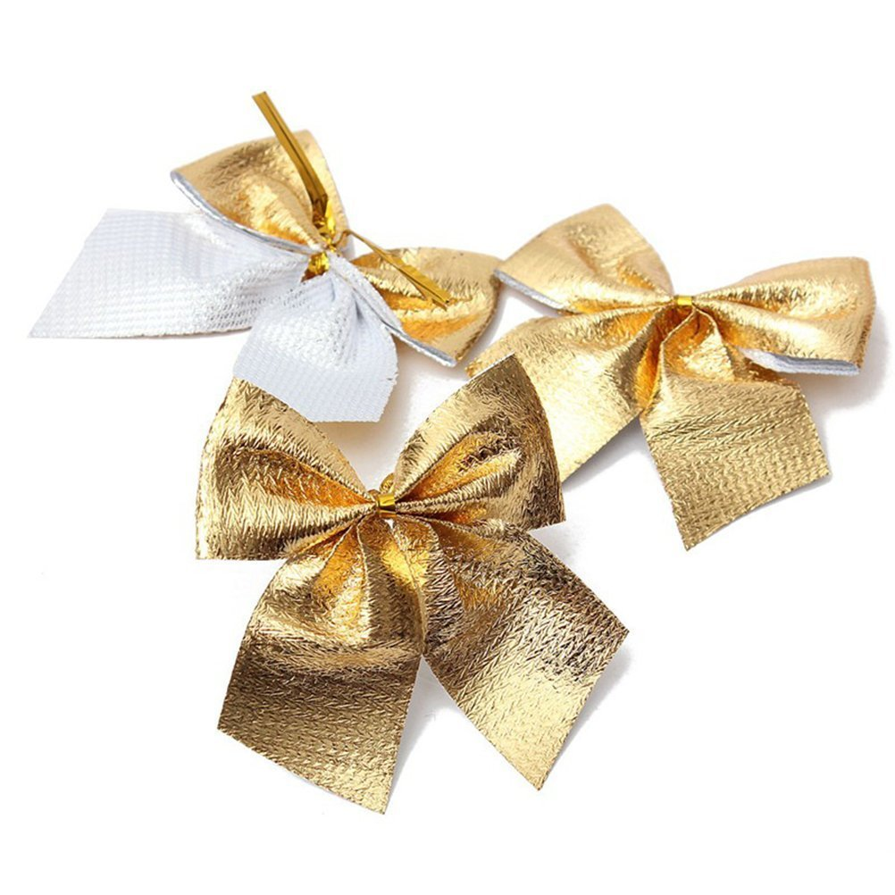NUOLUX 24Pcs Christmas Ribbon Bows for Christmas Tree Festival Party Ornament(Gold)