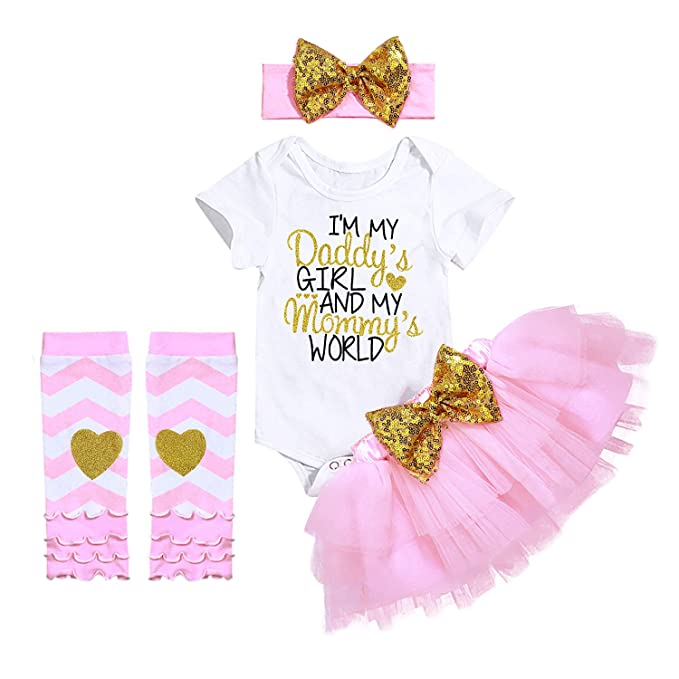 80e6c9118 Newborn Baby Girl Clothes Daddy Mommy Short Sleeve Bodysuit Tutu Skirt with  Headband Legging 4PC Outfit