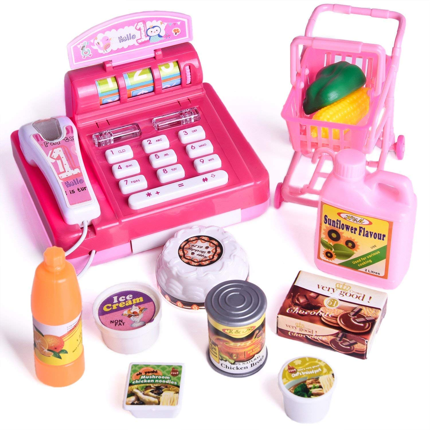 Fun Little Toys Toy Cash Register for Kids with Groceries, Play Food, Shopping Cart, Realistic Actions & Sounds