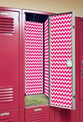 Back to School Magnetic Locker Wallpaper - Chevron (Watermelon)