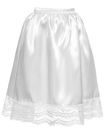 3c976217dbda94 DYSS Femmes Satin Demi Jupon Underskirt élastique A-Ligne Jupe ...