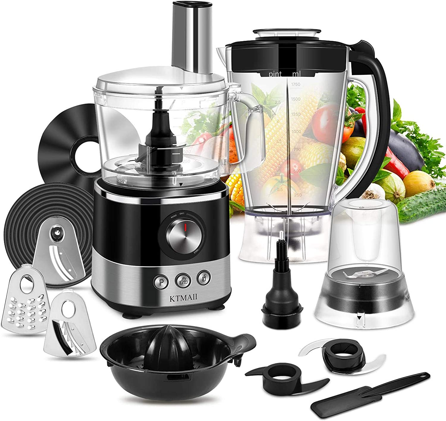 Food Processor Blender Combo, KTMAII 7-Cup Food Chopper with Mixing Bowl, Juicer, Grinder, Mashing Blades, Dough Blade, 3 Cutting Blades and 1 Disc, 650 Watts Base, Black