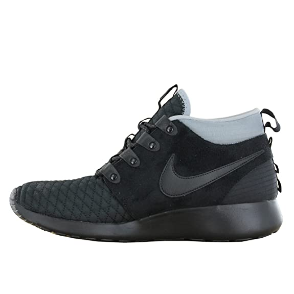 rqbio Nike Roshe Run Black Silver Sneaker Boot Mens Trainers Size 7.5 UK