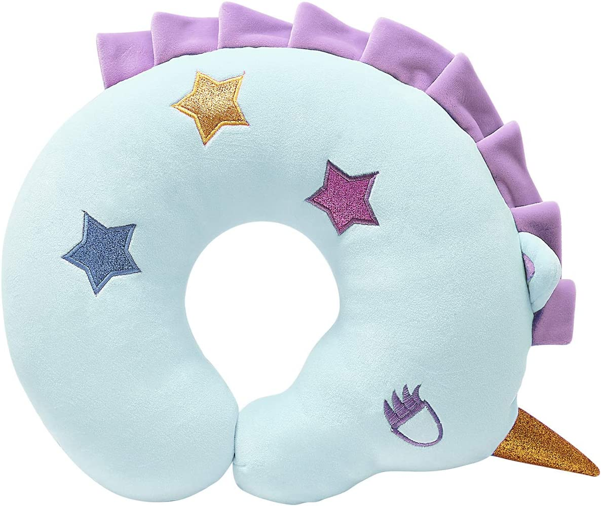 H HOMEWINS Kids Neck Pillow Lovely Soft Travel Pillow Comfortable Neck /& Chin Support Cushion Washable Car Seat Travel Companion Sleeping Aid Gift for Children and Youngster Blue Unicorn