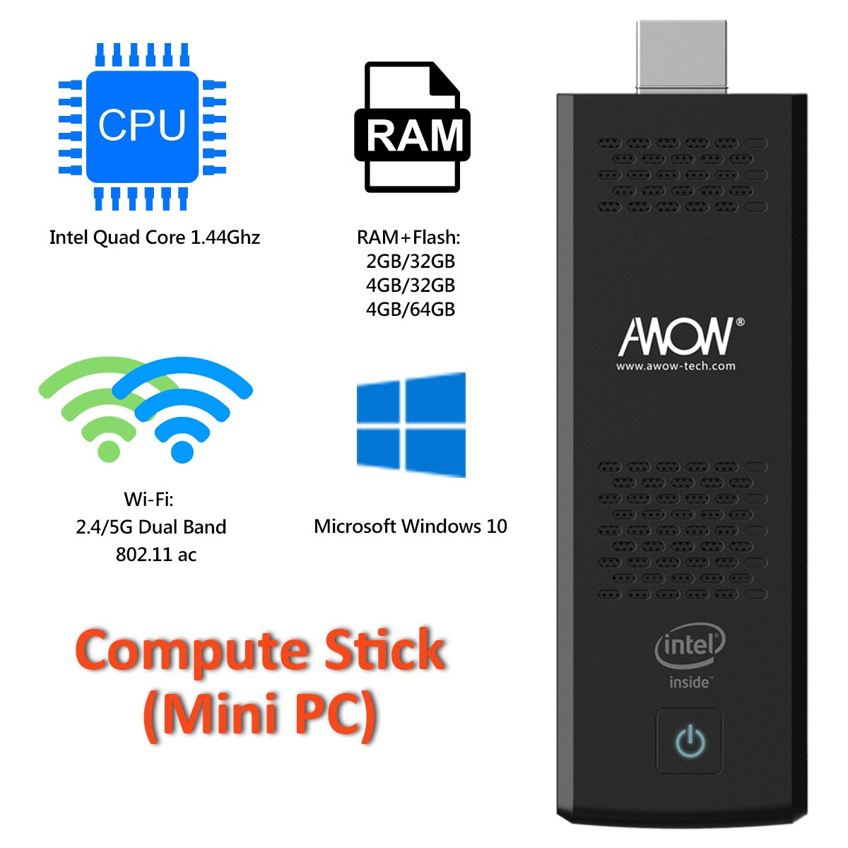 AWOW MP18 Intel Cherry Trail Fanless Mini PC Windows 10.1 (Home) [4GB/32GB/Dual-Band Wi-Fi/4K HD Display]-(MP18-SC432) (4GB) (RAM) by AWOW