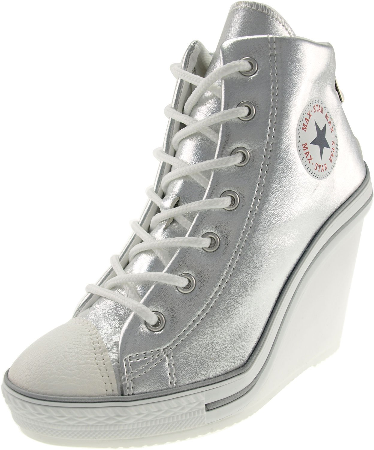 Maxstar Women's 777 Back Zipper PU High Wedge Heel Sneakers B00XTILZ7W 8.5 B(M) US|Silver