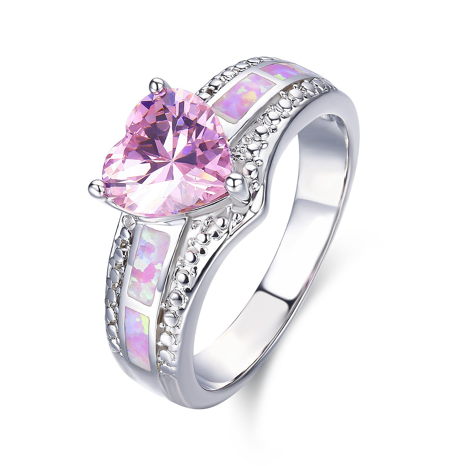 LAVUMO Pink Opal Cute Heart Cubic Zirconia Women Eternity Promise Engagement Rings for Her Gift Band White Gold Plated (8)