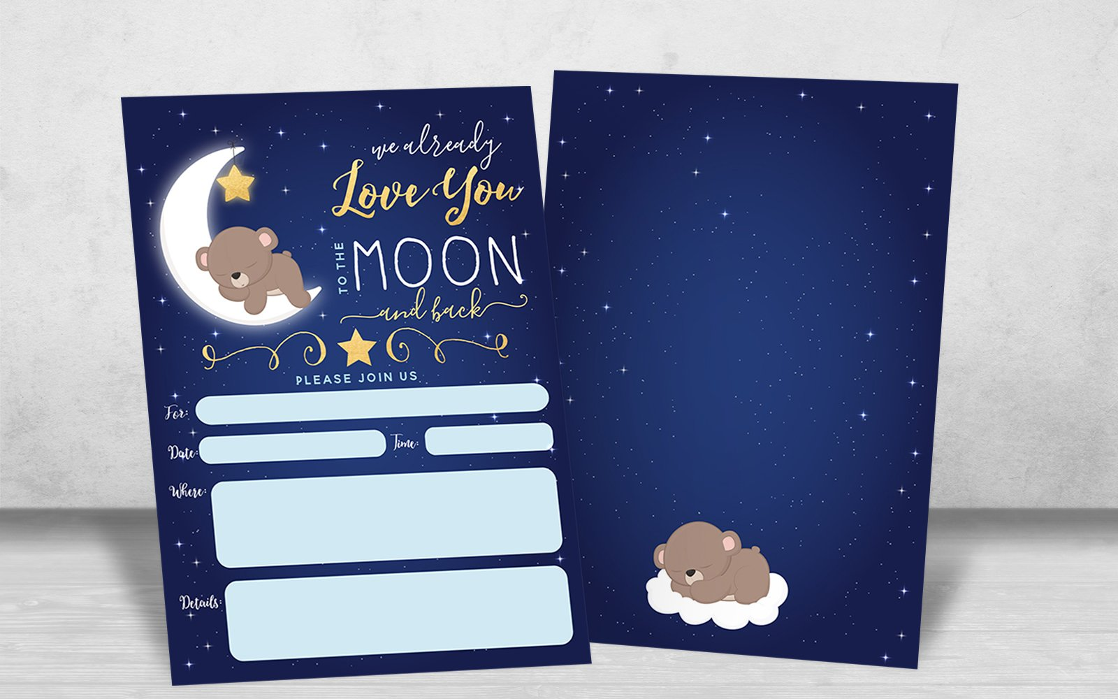 Boy Baby Shower Invitation, Love You To the Moon and back Baby Shower Invitation, Bear Baby Shower invite, Twinkle Twinkle Little Sar, 20 Fill in Invitations and Envelopes by Your Main Event Prints (Image #3)
