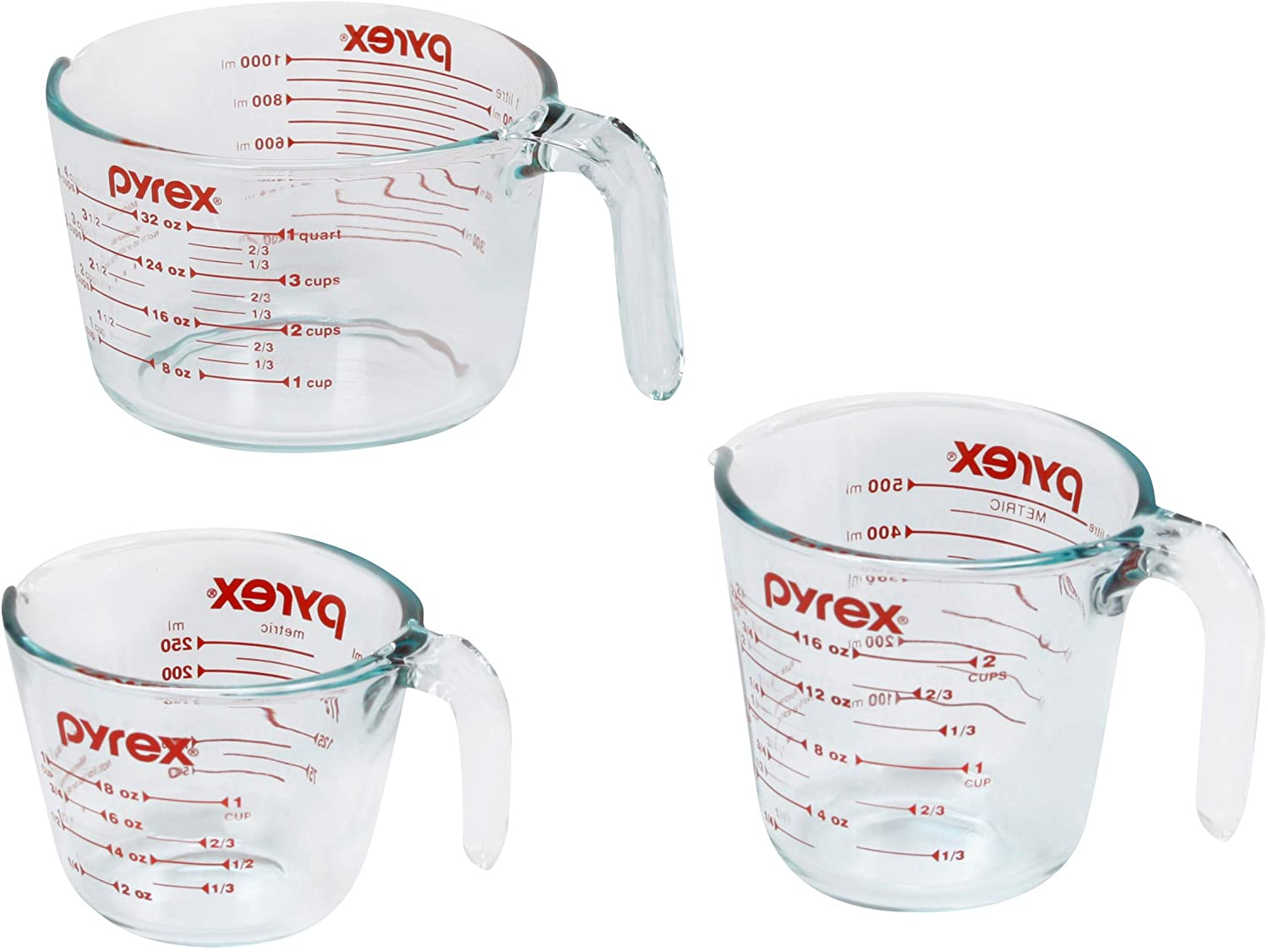 3-PIECE CLEAR PYREX MEASURING CUPS