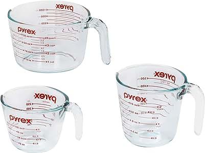 Pyrex 3-Piece Glass Measuring Cup Set, Clear (1118990)