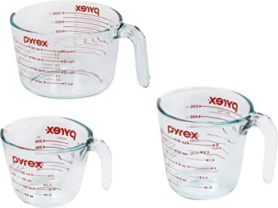 Pyrex Smart Essentials Glass Measuring Jug, (3-Piece set)