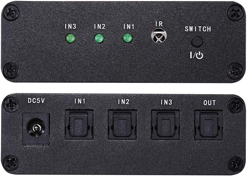 SHENGMASI NK-3X1 Full HD SPDIF//Toslink Digital Optical Audio 3 x 1 Switcher Extender with IR Remote Controller Distance 40Cm