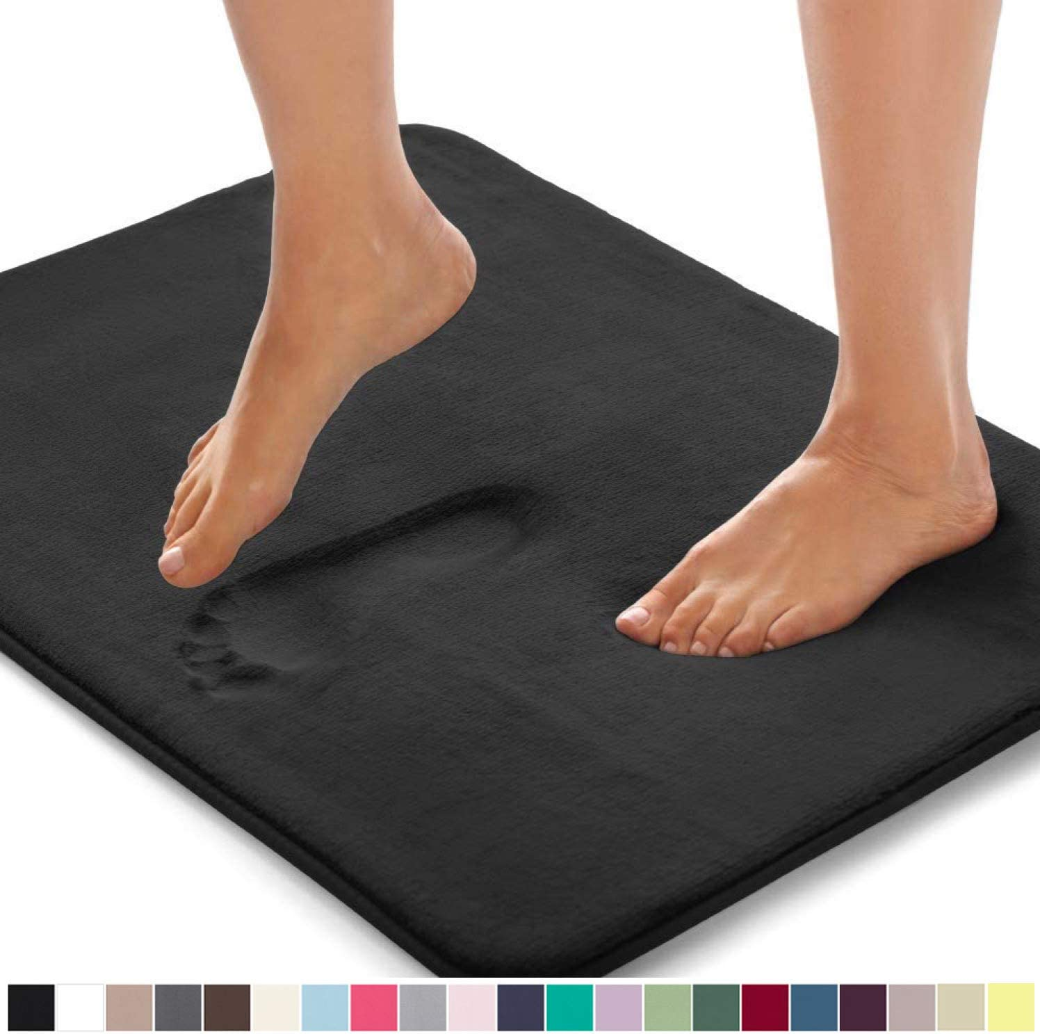 Gorilla Grip Original Thick Memory Foam Bath Rug, 30x20, Cushioned, Soft Floor Mats, Absorbent Premium's Bathroom Mat Rugs, Machine Washable, Luxury Plush Comfortable Carpet for Bath Room, Black