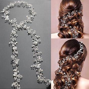 Amazon.com   Bridal Headband Hair Vine Vintage Wedding Crystal Pearl  Headpiece Lace Flower Jewelry Diamante Rhinestone Headdress Bridesmaid Head  Band ... 35f3a3ab9136