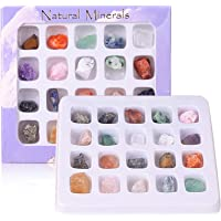 DIYARTS 20 Pcs Colección de Roca de Cristal Mineral Natural Fósil Mineral Adorno Piedra Preciosa de Cristal para…