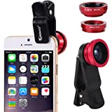 KINGMAS 3 in 1 Universal Fish Eye & Macro Clip Camera Lens Kit for iPad iPhone 7 6 5 Samsung Blackberry HTC and Most smartphones (Red)