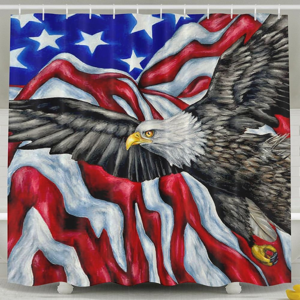 BINGO FLAG Funny Fabric Shower Curtain USA Flag Eagle Waterproof Bathroom Decor With Hooks 60 X 72 Inch