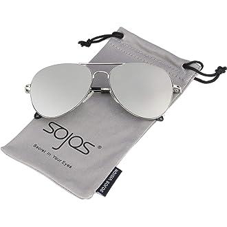 Women s Sunglasses.  1 SOJOS Classic Aviator Mirrored Flat Lens Sunglasses  Metal Frame with Spring Hinges SJ1030 c9829b29a1