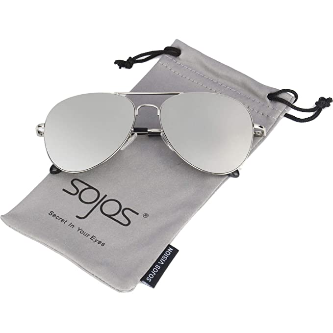 9c063516e39 SojoS Aviator Mirrored Flat Lens Sunglasses Metal Frame with Spring Hinges  SJ1030 with Silver Frame