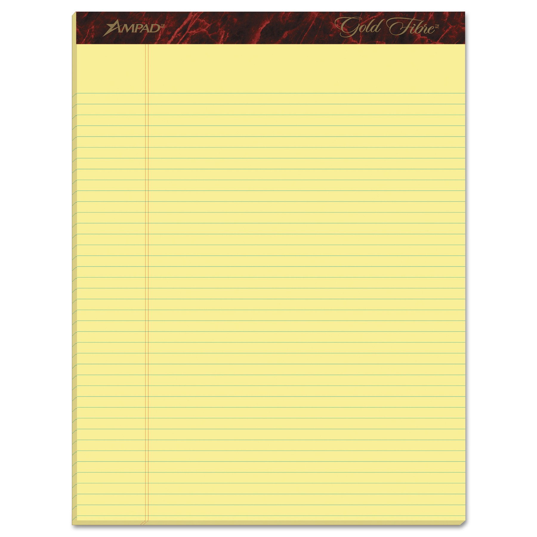 Esselte ESS20022 Ampad Gold Fibre Pads, 8 1/2 x 11 3/4, Canary, 50 Sheets (Pack of 12) by Esselte