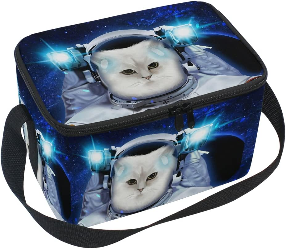 ALAZA Astronaut Space Cat Insulated Lunch Bag Box Cooler Bag Reusable Tote Bag Outdoor Travel Picnic Bag With Shoulder Strap