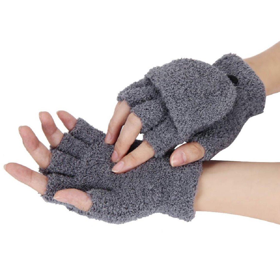 Malloom Ladies Girls Wrist Winter Fingerless Flip Gloves Soft Velvet Knit Mit.