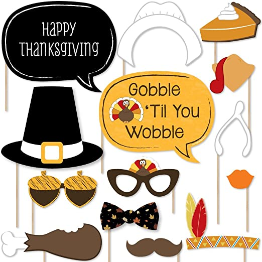 10 Piece Thanksgiving Party Photo Booth Props Kit Funny Give Thanks