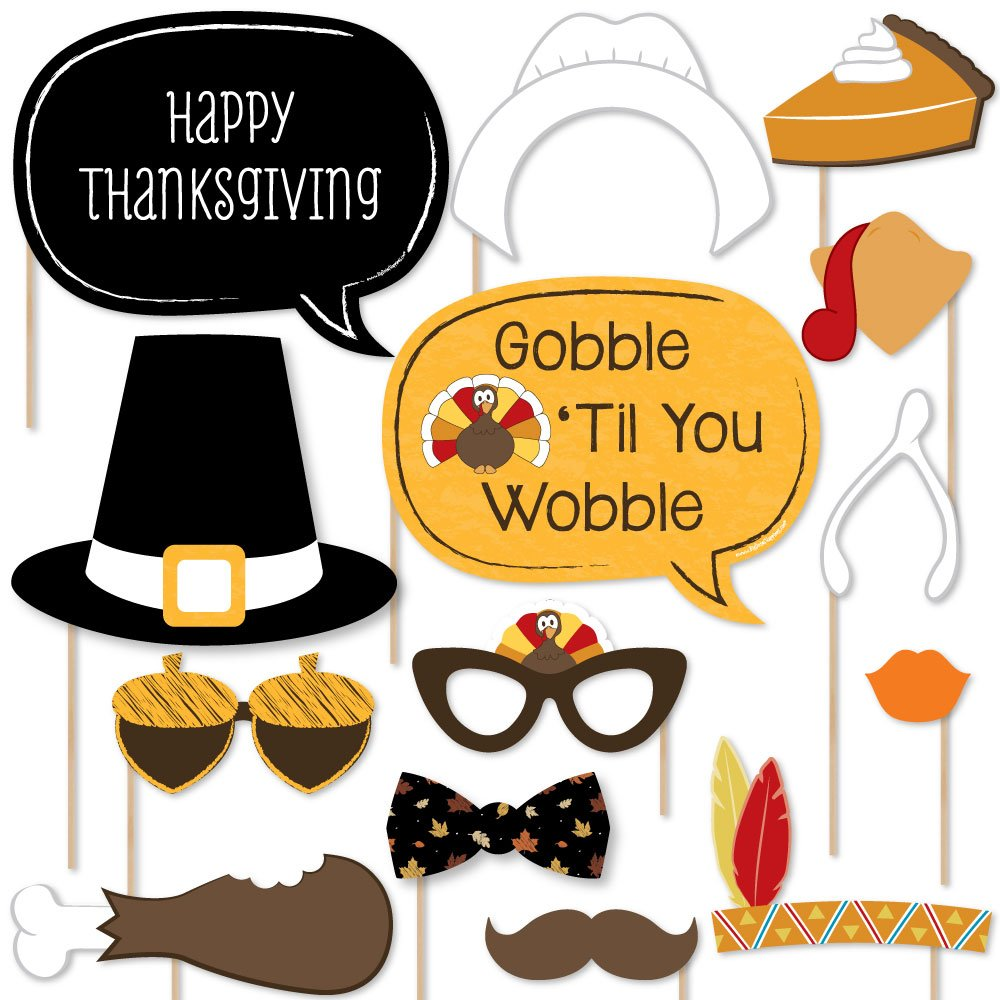 Amazon.com: Give Thanks - Thanksgiving Party Photo Booth Props Kit ...