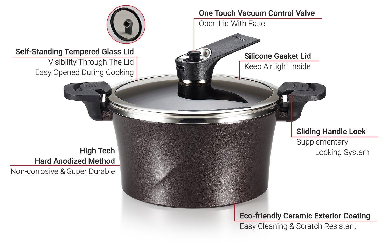 Rivet-Free Dishwasher Safe Hard Anodized Stock Pot Happycall Vacuum Pot Glassview Cookware 3-Quart Induction Ceramic Nonstick Brown